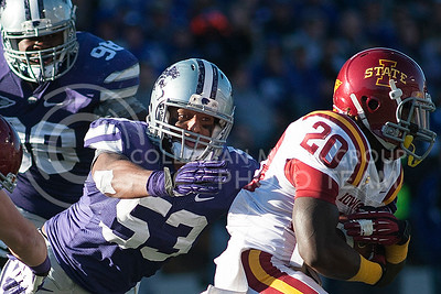 Emily DeShazer | The Collegian  K-State senior linebacker Blake Slaughter tackles Iowa State running back DeVondrick Nealy on Nov. 2 at Bill Snyder Family Stadium.