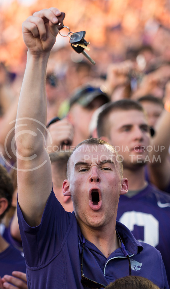K-State fans emplyed yelling and key jangling in an attempt to distract the other team during the  the KSU vs NDSU game in BSFS on Aug. 30, 2013.
