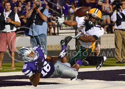 (Photo by Parker Robb | Collegian)  Junior wide receiver Tyler Lockett dives and attempts a catch during the second quarter of the Wildcats' season opener 21-24 loss to the North Dakota State Bison August 30.