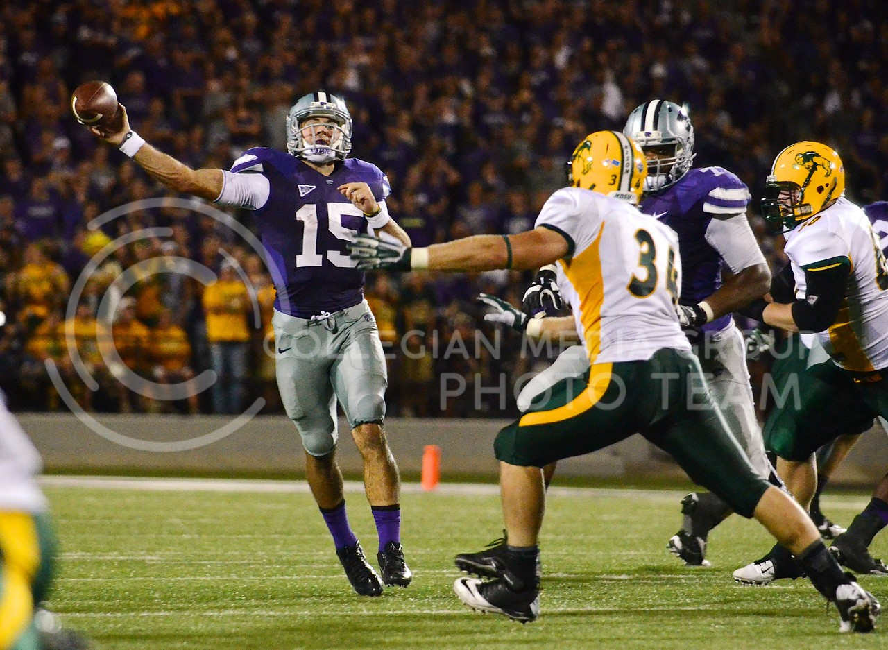 (Photo by Parker Robb | Collegian)<br /> <br /> Junior quarterback Jake Waters attempts a pass during the third quarter of the Wildcats' season opener 21-24 loss to the North Dakota State Bison August 30.