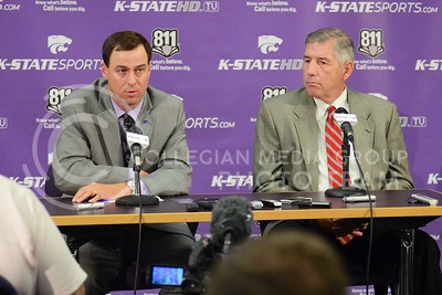 (Photo by Parker Robb | Collegian)  K-State Athletic Director John Curie (left) and Big12 Commissioner Bob Bowlsby discuss Big12 revenues during K-State football's media day Aug. 5. Curie has taken K-State's athletics department, which was operating under a budget deficit, and in his four years has not only changed that deficit to a budget surplus, but also turned the department into the most profitable athletic department in the country according to ESPN.
