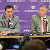 (Photo by Parker Robb   Collegian)<br /> <br /> K-State Athletic Director John Curie (left) and Big12 Commissioner Bob Bowlsby discuss Big12 revenues during K-State football's media day Aug. 5. Curie has taken K-State's athletics department, which was operating under a budget deficit, and in his four years has not only changed that deficit to a budget surplus, but also turned the department into the most profitable athletic department in the country according to ESPN.