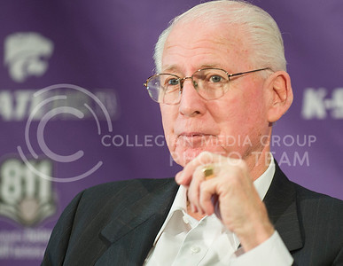Emily DeShazer | The Collegian  Head coach Bill Snyder speaks to the media at the Vanier Complex Tuesday afternoon.  Snyder spoke about bowl eligibility and the game agianst TCU this weekend.