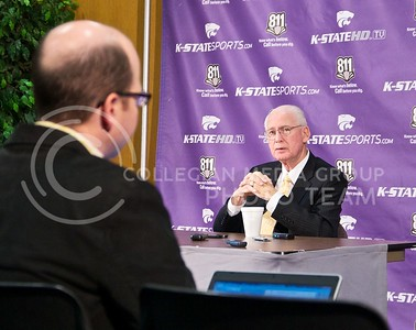 (Photo by Jed Barker | The Collegian)  Football head coach Bill Snyder answers questions during the press conference at Vanier Football Complex on Tuesday, October 22, 2013.