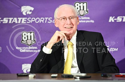 Parker Robb | The Collegian  Football head coach Bill Snyder responds to a question about whether or not he even knows when he will retire from coaching at K-State for the second time, which he doesn't, during his first spring press conference April 8, 2014, at the Vanier Football Complex. Snyder also confirmed that sophomore Daniel Sams will be playing wide receiver, and that the race for the open running back starting position is afoot between freshmen Charles Jones and Jarvis Leverett, and junior DeMarcus Robinson.