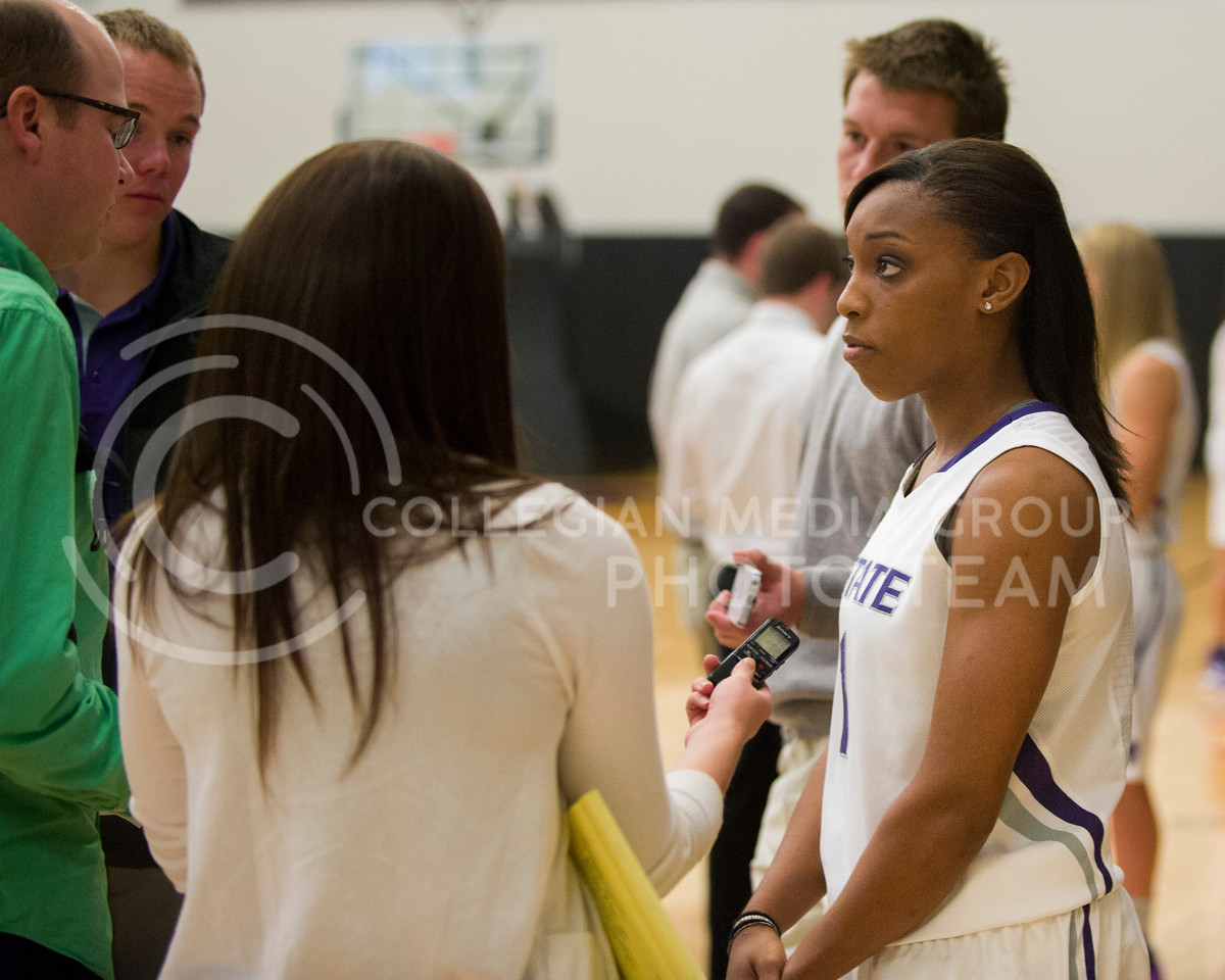Emily DeShazer | The Collegian<br /> <br /> K-State junior guard Haley Texada speaks to the media at the K-State Basketball Training Facility Wednesday afternoon about the upcomming basketball season.  Last year K-State made it to the semi finals of the WNIT before falling to Utah in overtime.