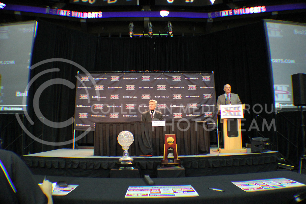 (Photo by Chandler Riley | The Collegian)<br /> <br /> Head coach Bruce Weber talks to the crowd about the upcoming season at the annual Big 12 Men's Basketball Media Day on Tuesday at the Sprint Center in Kansas City.