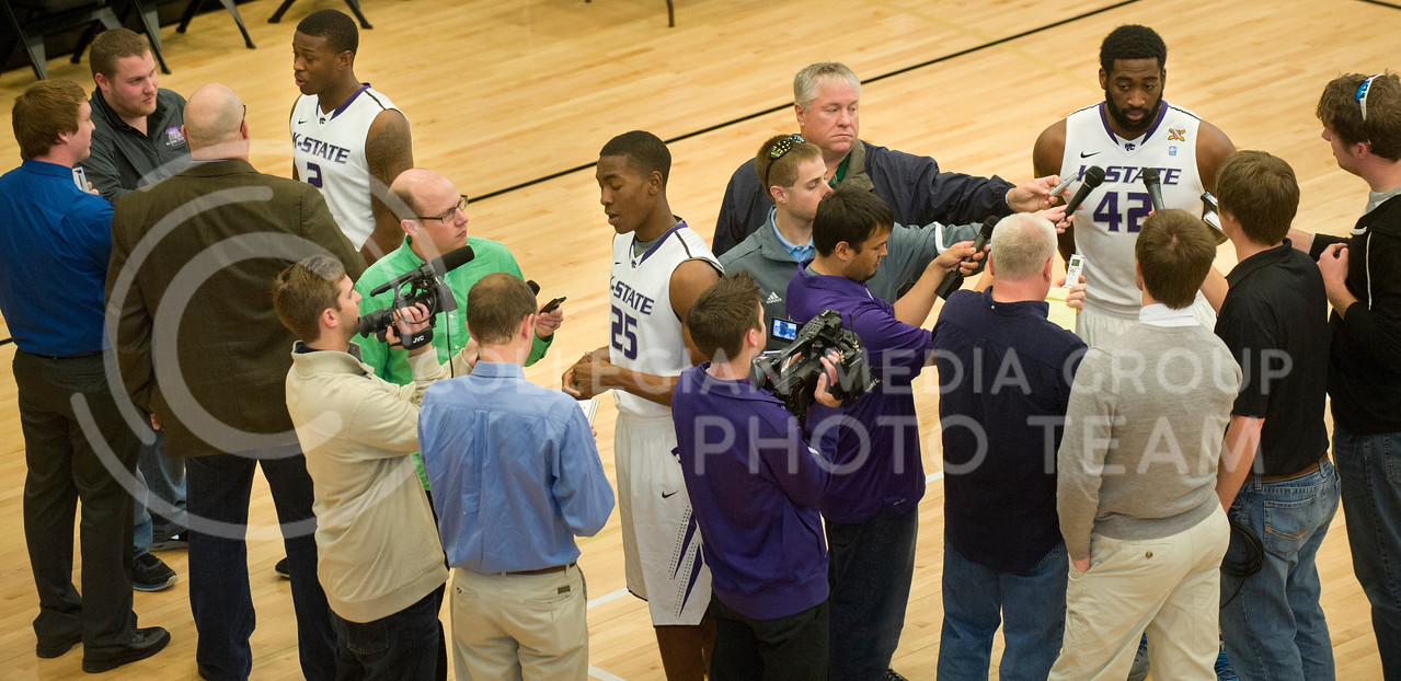 Emily DeShazer | The Collegian<br /> <br /> K-State freshmen guards Marcus Foster and Wesley Iwundu and junior forward Thomas Gipson speak with the media in the K-State Basketball Training Facility Wednesday afternoon.  Players from both teams were available to talk about the upcomming basketball season season.