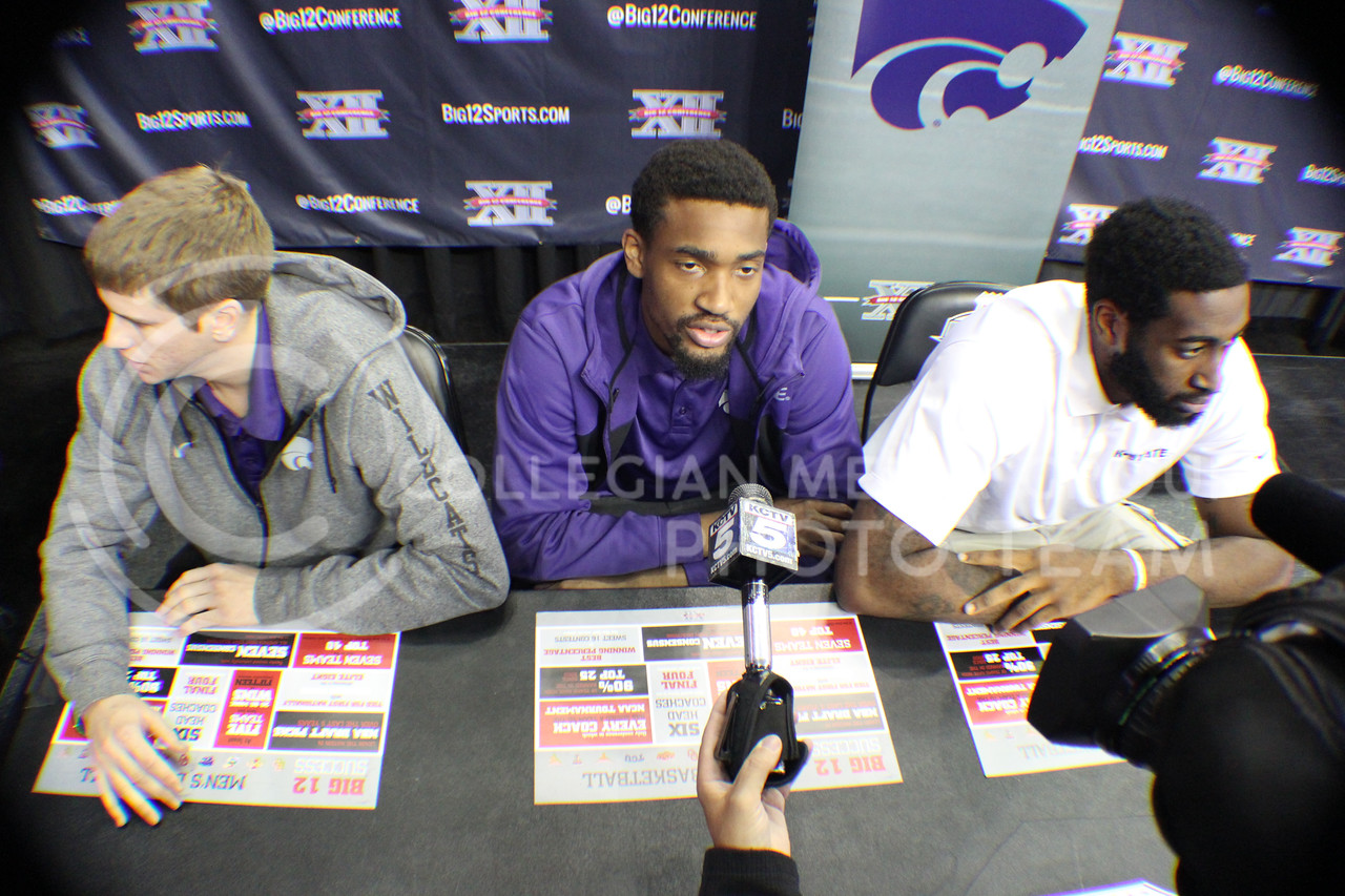 (Photo by Chandler Riley | The Collegian)<br /> <br /> Will Spradling (left), Shane Southwell (middle) and Thomas Gipson (right) speak to the media about the upcoming season at the Sprint Center on Tuesday.