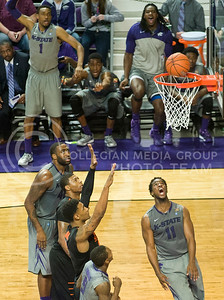 (Photo by Emily DeShazer | Collegian)  K-State junior forward Nino WIlliams lets out a yell as his basket falls in with a free throw on the way during the 74-71 win over No. 6 Oklahoma State on Jan. 6, at Bramlage Coliseum.
