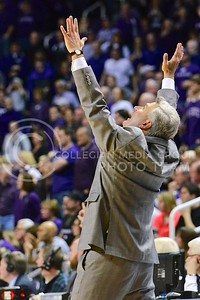 (Photo by Parker Robb | Collegian)  Head coach Bruce Weber lifts his eyes to the heavens and cries out in prayer that the Wildcats might hang on to their lead of a few points and upset #6-ranked Oklahoma State January 4, 2014 in Bramlage Coliseum. After a technical foul by OSU forward Marcus Smart, K-State took a lead of a few points and managed to hold on to the end to upset OSU 74-71.