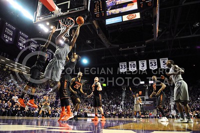 (Photo by Parker Robb | Collegian)  Junior forward Thomas Gipson goes up for a layup late in the second half of the Wildcats' 74-71 upset victory over the #6-ranked Oklahoma State Cowboys in Bramlage Coliseum January 4, 2014.