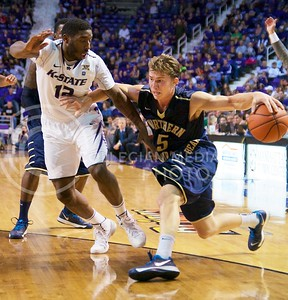 Photo by Jed Barker | The Collegian  Senior guard Omari Lawrence stays with  Northern Colorado's Tevin Svihovec at Bramlage Coliseum on November 8, 2013.