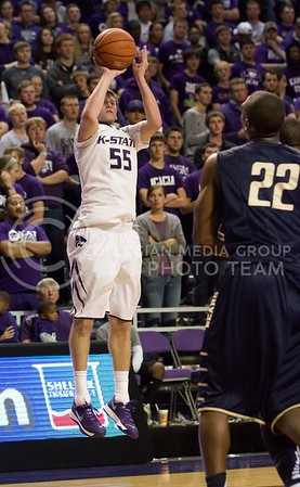 Photo by Jed Barker | The Collegian  Senior guard Will Spradling attempts a three pointer against North Colorado at Bramlage Coliseum on November 8, 2013.