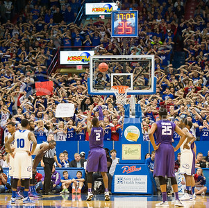(Photo by Emily DeShazer | The Collegian)  K-State freshman guard Marcus Foster shoots a free throw on Jan. 11 at Allen Fieldhouse.