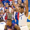 (Photo by Emily DeShazer | The Collegian)<br /> <br /> K-State freshman guard Marcus Foster looks to pass the ball as he's guarded by Kansas freshman guard Wayne Selden Jr. on Jan. 11 at Allen Fieldhouse.