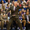 (Photo by Emily DeShazer | The Collegian)<br /> <br /> K-State head coach yells at his team to get in to position on Jan. 11 at Allen Fieldhouse.
