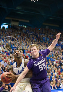 (Photo by Emily DeShazer | The Collegian)  K-State senior guard Will Spradling defends a shot on Jan. 11 at Allen Fieldhouse.