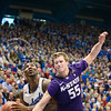 (Photo by Emily DeShazer | The Collegian)<br /> <br /> K-State senior guard Will Spradling defends a shot on Jan. 11 at Allen Fieldhouse.