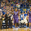 (Photo by Emily DeShazer | The Collegian)<br /> <br /> Kansas coaches and fans celebrate as K-State's Marcus Foster, Shane Southwell and the team are assessed a shot clock violation.