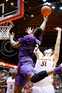 (Photo by Parker Robb | Collegian)  Freshman forward Marcus Foster attempts a jumper with 1:15 remaining in the second half of K-State's 81-75 loss to the Cyclones January 25, 2014, in Hilton Coliseum in Ames, Iowa. The Wildcats still had a chance as they were only down one possession.