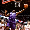(Photo by Parker Robb | Collegian)  Freshman guard Jevon Thomas attempts a layup while trying to overcome the Wildcats' four-point deficit with eight seconds remaining in the second half of K-State's 81-75 loss to the Cyclones January 25, 2014, in Hilton Coliseum in Ames, Iowa.