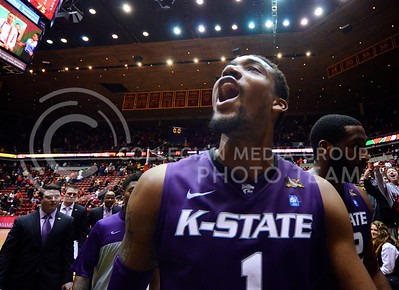 (Photo by Parker Robb | Collegian)  Senior forward Shane Southwell shouts replies back  at Iowa State fans telling him to go home as he walks toward the locker room following K-State's 81-75 loss to the Iowa State Cyclones in Hilton Coliseum in Ames, Iowa, January 25, 2014. Southwell finished with a respectable 14 points, second-most among the Wildcats.