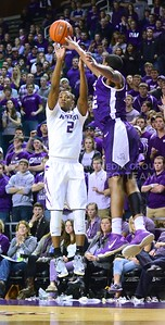 Photo by Parker Robb | Collegian  Freshman guard Marcus Foster nails a three-pointer in the first half of K-State's 65-53 victory over the Horned Frogs February 19, 2014,  in Bramlage Coliseum.