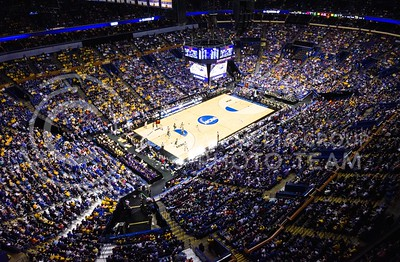 Parker Robb | The Collegian  A crowd of Purple, Blue and Yellow-clad fans fill the Scottrade Center in St. Louis to watch Wichita State beat CalPoly in the Second Round of the NCAA Tournament March 21, 2014. Despite complaints from across the media concerning the sheer size of AT&T Stadium in Dallas, the NCAA still set a Final Four attendance record for the second year in a row as a total of 158,682 people attended the Final Four over the three games between UConn, Kentucky, Wisconsin and Florida.