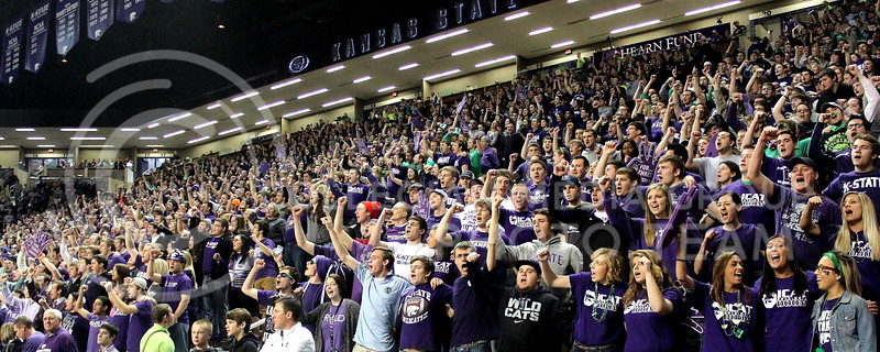 Josh Staab // The Collegian  The K-State Student section finishes off the alma mater before the start of the game against Baylor.  The stadium was packed to the limit for the senior night game held on Fake Patty's day.