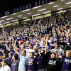 Josh Staab // The Collegian<br /> <br /> The K-State Student section finishes off the alma mater before the start of the game against Baylor.  The stadium was packed to the limit for the senior night game held on Fake Patty's day.
