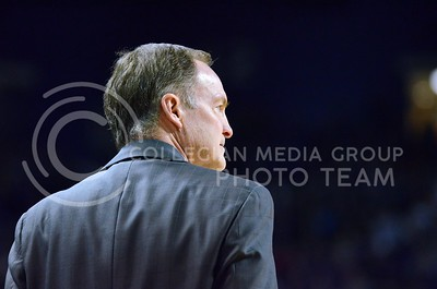 (Photo by Parker Robb | Collegian)  Oklahoma head coach Lon Kruger watches his players during the first half of the Wildcats' 72-66 victory over the #25 Oklahoma Sooners January 14, 2014, in Bramlage Coliseum.