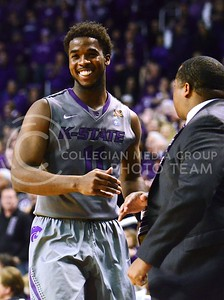 (Photo by Parker Robb | Collegian)  Junior forward Nino Williams is all smiles after making four clutch free throws on two consecutive possessions with about 16 seconds left in the second half of the Wildcats' 72-66 victory over the #25 Oklahoma Sooners January 14, 2014, in Bramlage Coliseum.