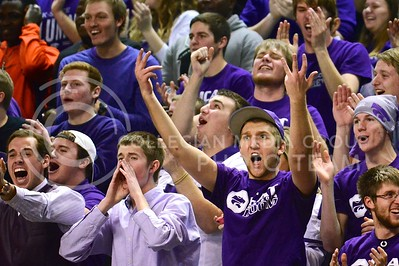 (Photo by Parker Robb | Collegian)  K-State students go crazy after the third of several three pointers in a run by the Wildcats during the first half of their 72-66 victory over the #25 Oklahoma Sooners January 14, 2014, in Bramlage Coliseum.