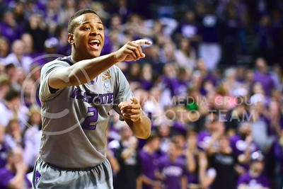 (Photo by Parker Robb | Collegian)  Freshman forward Marcus Foster shouts at teammates during the waning minutes of  the second half of the Wildcats' 72-66 victory over the #25 Oklahoma Sooners January 14, 2014, in Bramlage Coliseum. Foster led the Wildcats with 18 points, even after injuring his finger early in the game.