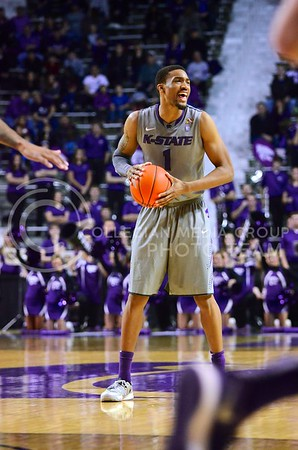 (Photo by Parker Robb   Collegian)  The Wildcats down 54-55, Senior guard Shane Southwell barks orders to fellow teammates during the second half of the Wildcats' 72-66 victory over the #25 Oklahoma Sooners January 14, 2014, in Bramlage Coliseum.