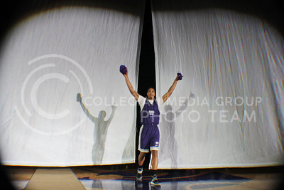 (Photo by Chandler Riley   The Collegian)  Men's basketball newcomer Justin Edwards is introduced to the crowd for the first time in Bramlage Coliseum, Friday night during Madness in Manhattan. Edwards stole the spotlight by winning the dunk contest and surprising the crowd.
