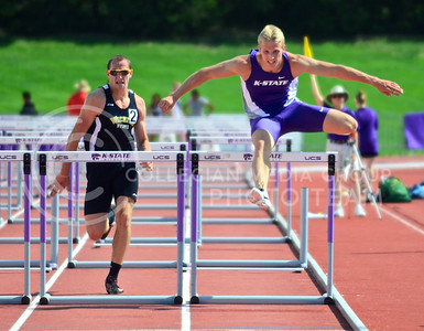 Sophomore decathlete Reinis Kregers clears a hurdle in the men's 110m hurdles competition at the Ward Haylett Invitational at the RV Christian track complex May 3. Kregers and twelve other Wildcats will be competing in the NCAA Outdoor Track and Field Championships in Eugene, Oregon, June 11-14.