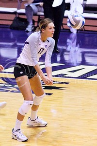 (Photo by Jed Barker | The Collegian)  K-State's Kaitlynn Pelger bumps the ball against TCU at Ahearn Field House in Manhattan, Kansas on October 5, 2013.