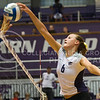 (Photo by Emily DeShazer | The Collegian)  Red Shirt setter Katie Brand pushes one over the net on Sept. 10 at Ahearn Fieldhouse.  The Wildcats lost 3 sets to 1 at Baylor yesterday.