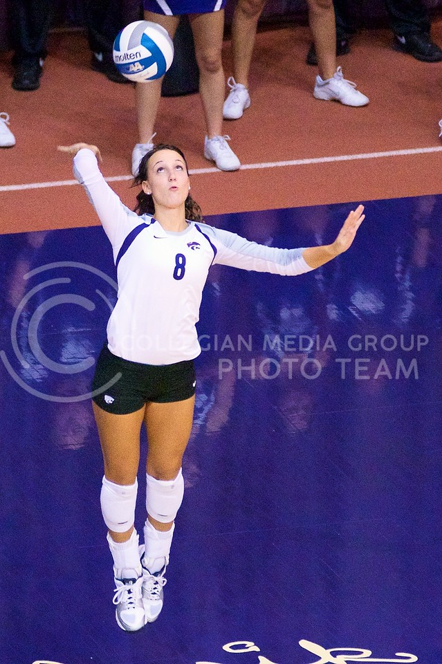 (Photo by Jed Barker | Collegian)<br /> Sophomore defensive specialist and libero Dallas Gardner serves the ball at Ahearn Field House on September 24.  K-State lost to the Italian U-23 National Team in a 5-set, 2-hour long match.