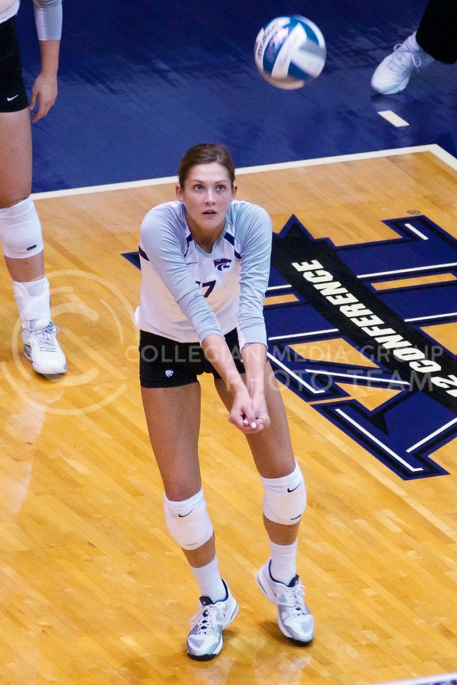 (Photo by Jed Barker | Collegian)<br /> Senior middle blocker Kaitlynn Pelger bumps the ball after the serve at Ahearn Field House on September 24.  The Wildcats battled against the Italian U-23 National Team, winning the first two sets, but struggled in the remaining three and eventually lost the match.