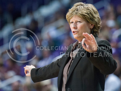K-State women's basketball head coach Deb Patterson directs her team during their exhibition game against Alaska-Anchorage November 1, 2013.