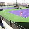 Photo by Parker Robb | The Collegian<br /> <br /> The match against Oklahoma March 28, 2014, marked the first competition to be held in the new Mike Goss Tennis Stadium, located east of the Rec, that was completed in September.