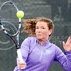 Photo by Parker Robb | The Collegian<br /> <br /> Junior Amina St. Hill returns a volley to Oklahoma's Emma Devine in St. Hill's defeat of Devine and K-State's loss to the Sooners at the Mike Goss Tennis Stadium March 28, 2014.