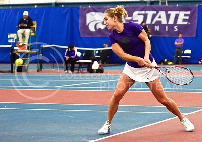 Photo by Parker Robb | The Collegian  Senior tennis player Petra Niedermayerova prepares a backhand return against Northern Iowa's Jieke Stroobant January 31, 2014, at the Body First Tennis and Fitness Center. Petra led the Wildcats to victory over the Panthers with her 6-2, 6-2 defeat of Stroobant.