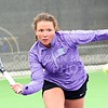 Photo by Parker Robb | The Collegian<br /> <br /> Amina St. Hill returns a volley to Oklahoma's Emma Devine in St. Hill's 6-3, 6-1 defeat of Devine March 28, 2014, at the Mike Goss Tennis Stadium. St. Hill recorded the Wildcats' only win of the day as K-State fell to OU 6-1, and another win on Sunday as K-State fell 5-2 to Oklahoma State.