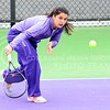 Photo by Parker Robb | The Collegian<br /> <br /> Freshman Maria Panaite returns a low shot from Oklahoma's Morgan Chumney in K-State's loss to the Sooners at the Mike Goss Tennis Stadium March 28, 2014.