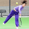 Photo by Parker Robb | The Collegian<br /> <br /> Freshman Maria Panaite whacks a shot back toward Oklahoma's Morgan Chumney in K-State's loss to the Sooners at the Mike Goss Tennis Stadium March 28, 2014.