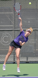 Photo by George Walker | Collegian  Senior Petra Niedermayerova serves the ball during a match against KU at the Mike Goss Tennis Stadium on Saturday. This was Niedermayerova's last career home match, K-State won 6-1.